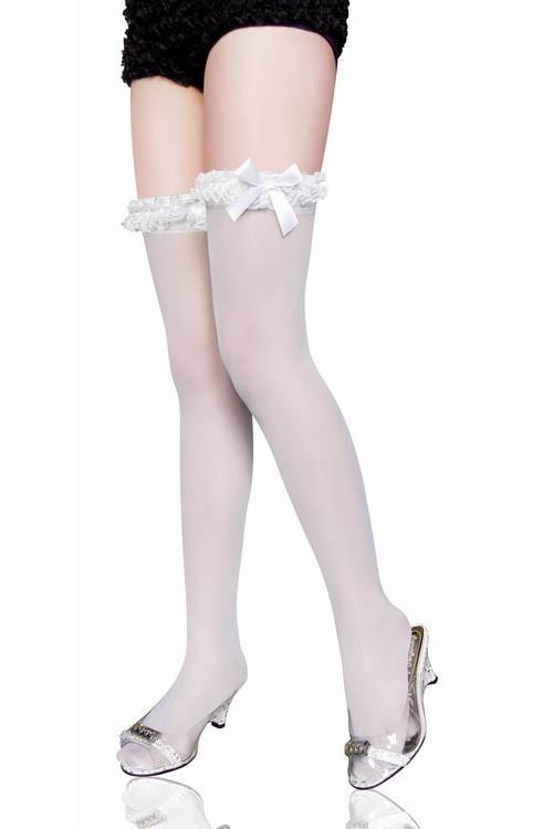 Hvit Blonde Overknee Strømper Med Satin Sløyfe