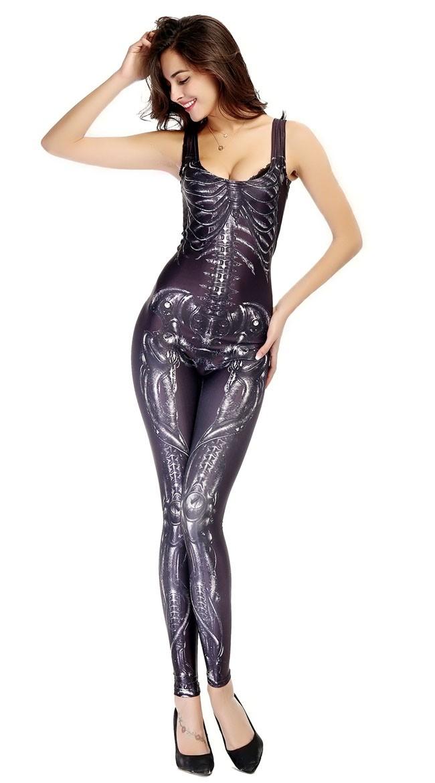 3D Halloween Skjelett Kostyme Bodysuit Svart