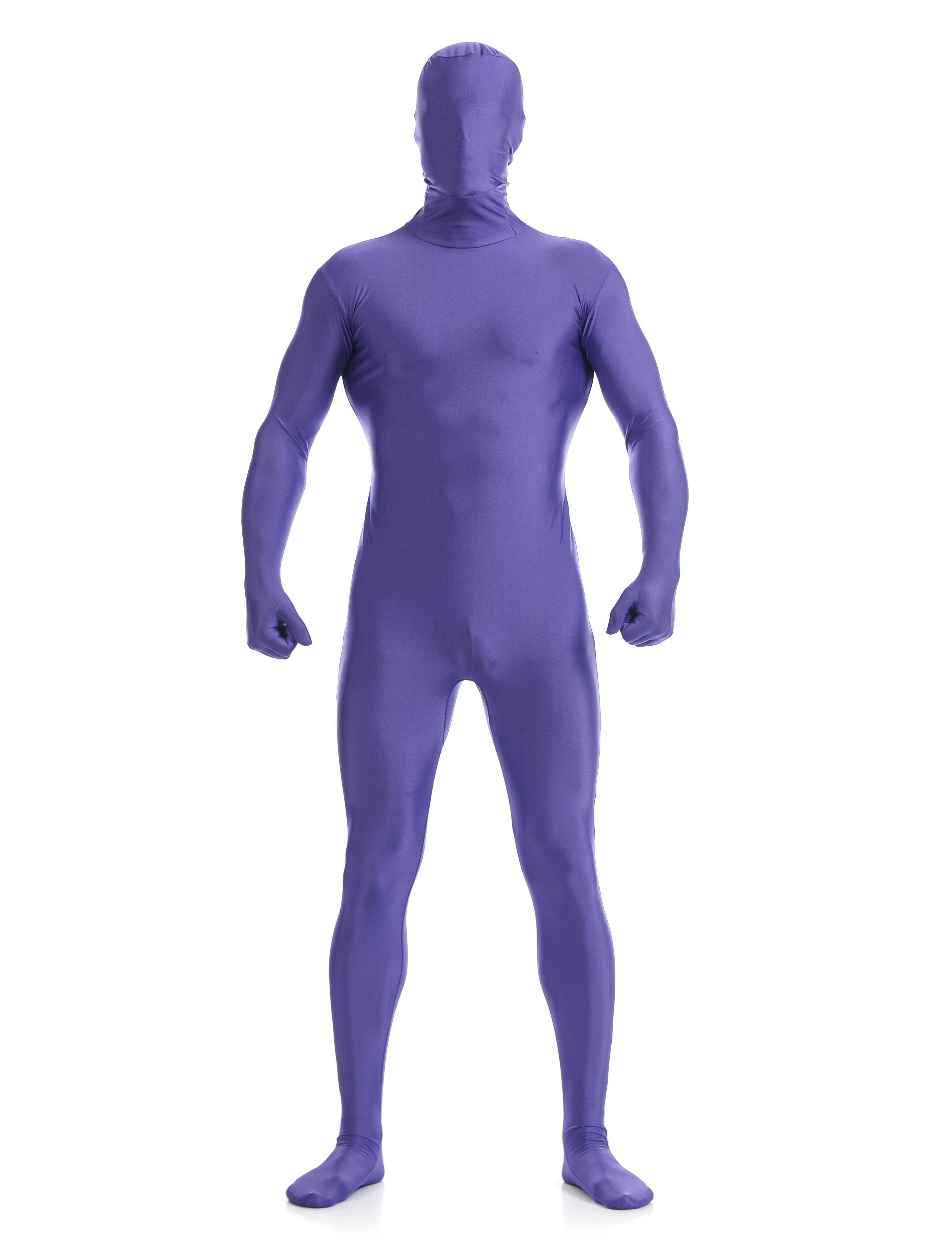 Morphsuit Skinsuit Lycra Spandex Drakt Heldekkende Herre Lilla