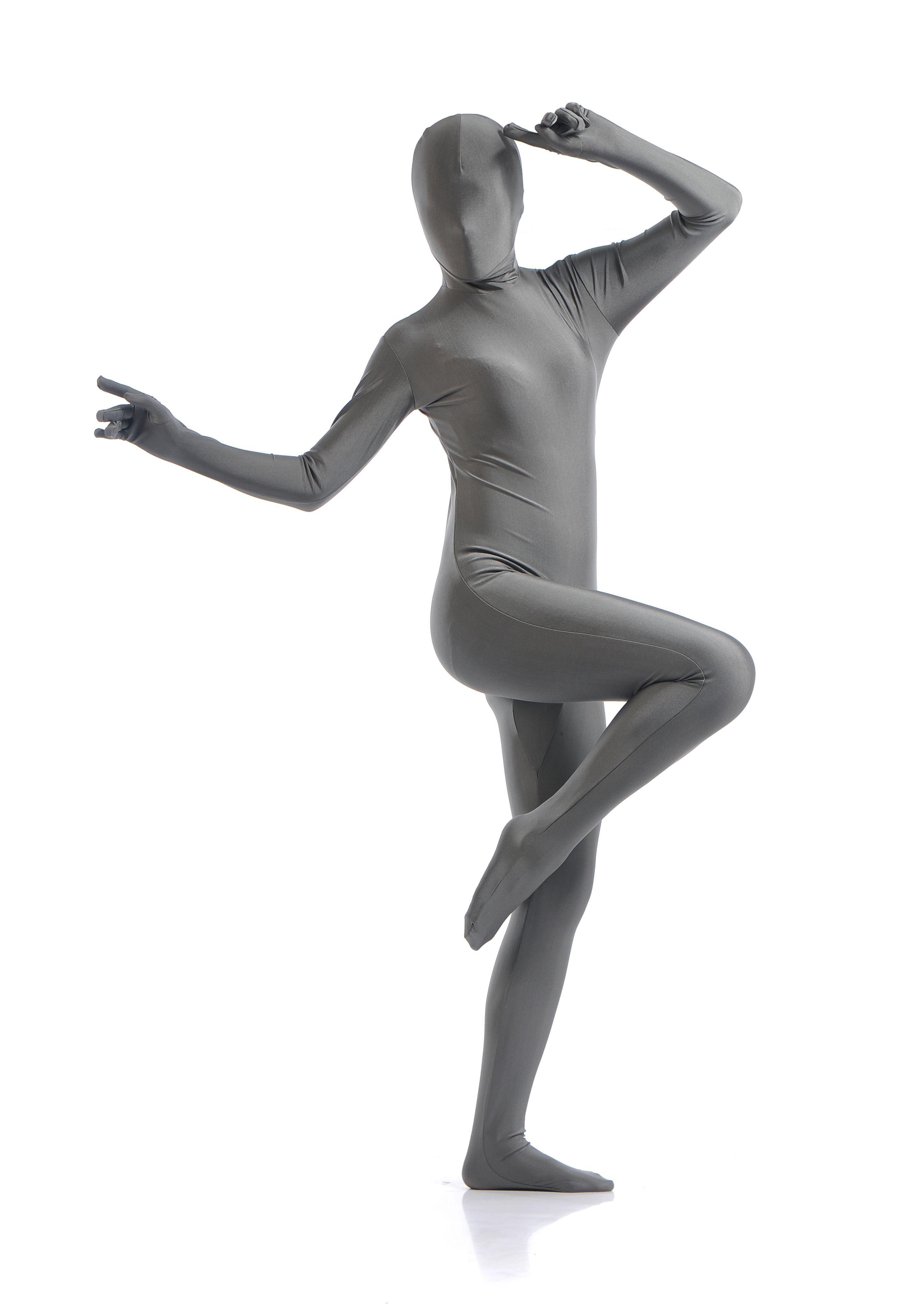Morphsuit Skinsuit Lycra Spandex Drakt Heldekkende Dame Grå