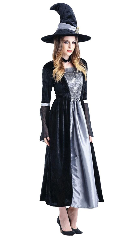 Halloween Heks Kostyme Svart Grå