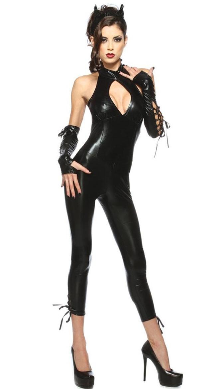 Sexy Svart Panther Catwoman Kostyme