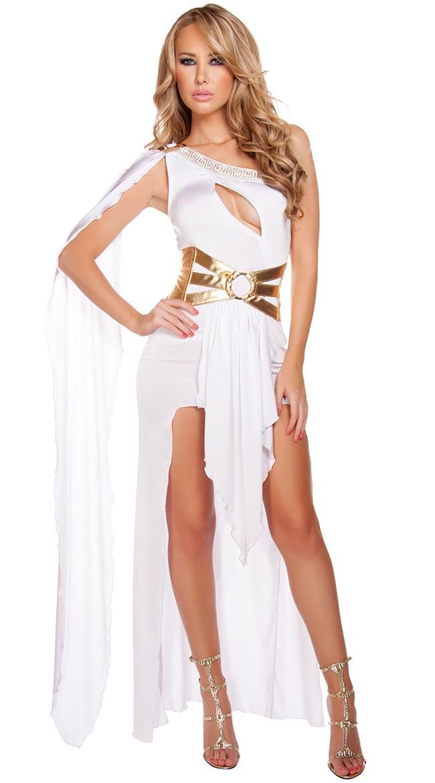 Hvit Gresk Gudinne Kostyme Lange Kjole