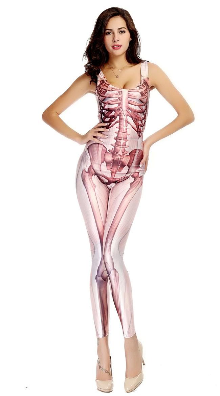 3D Halloween Skjelett Kostyme Bodysuit Rosa