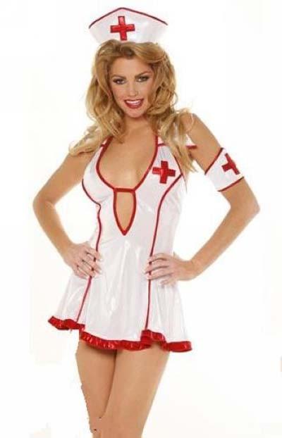 Hvit Rød Pleie Sykepleier Kostyme