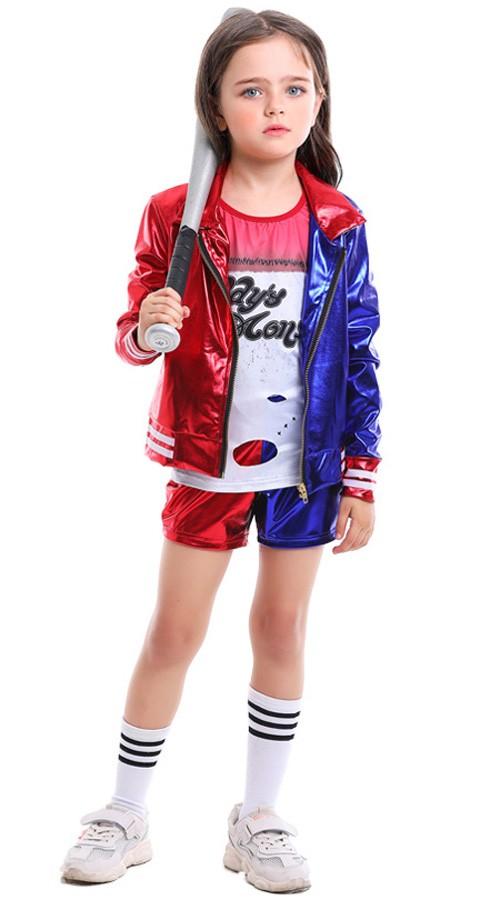 Barn Skinnende Utskrift Suicide Squad Harley Quinn Kostyme