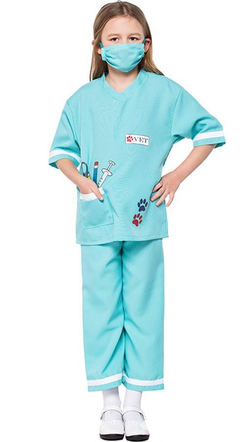 Veterinærdrakt Barn Halloween Lege Sykepleier Kostymer Blå