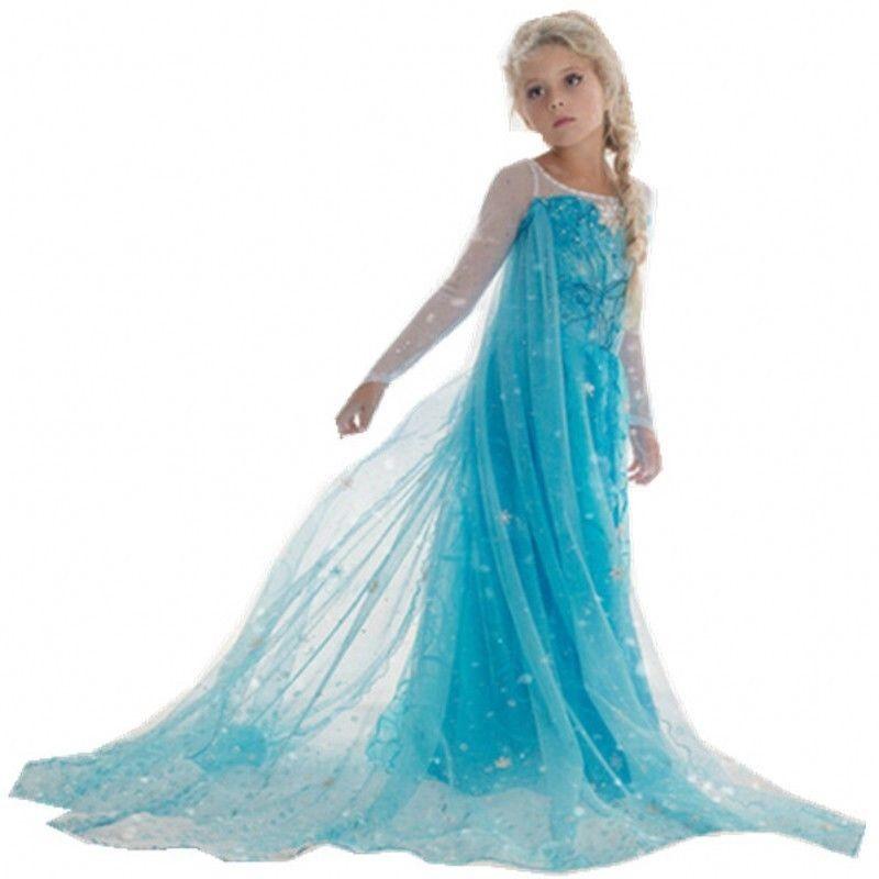 Elsa Frozen Kjole Prinsesse Kostyme Barn