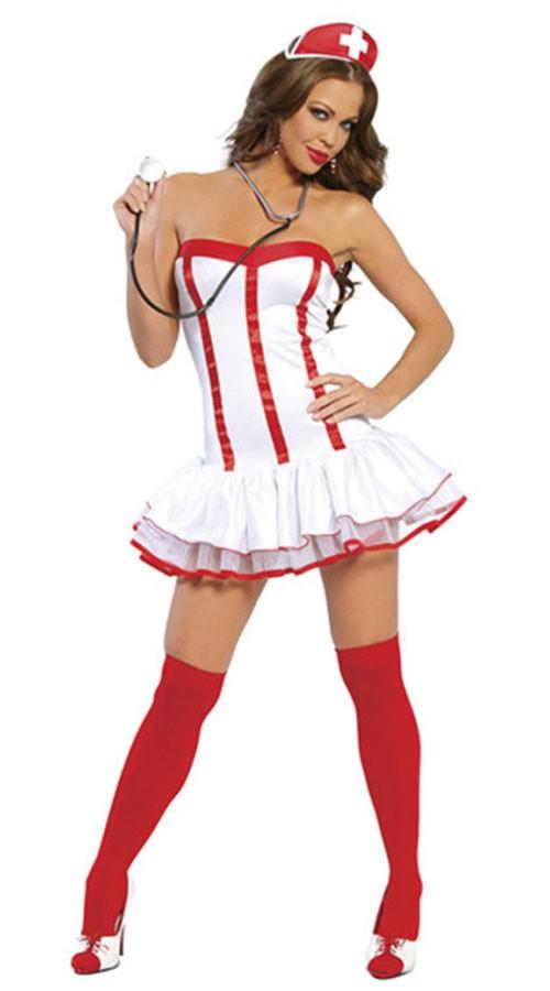 Stroppeløs Sykepleier Kostyme