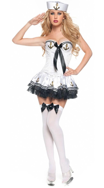 Hvit Paris Matros Kostyme Dame