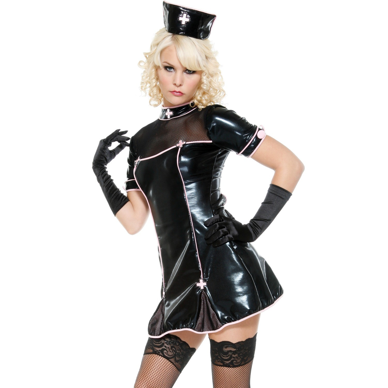 Svart Goth Sykepleier Kostyme