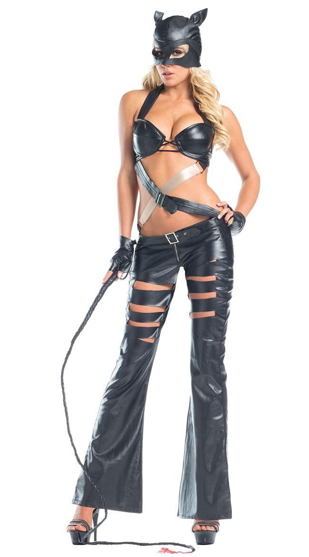 Svart Cutout Sexy Catwoman Kostyme