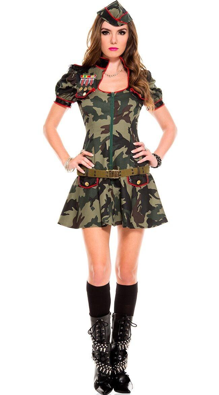 Sexy Militær Uniform Grønn Kostyme