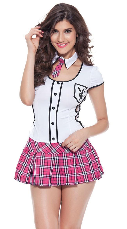 Hvit Og Rosa Skolepike Kostyme