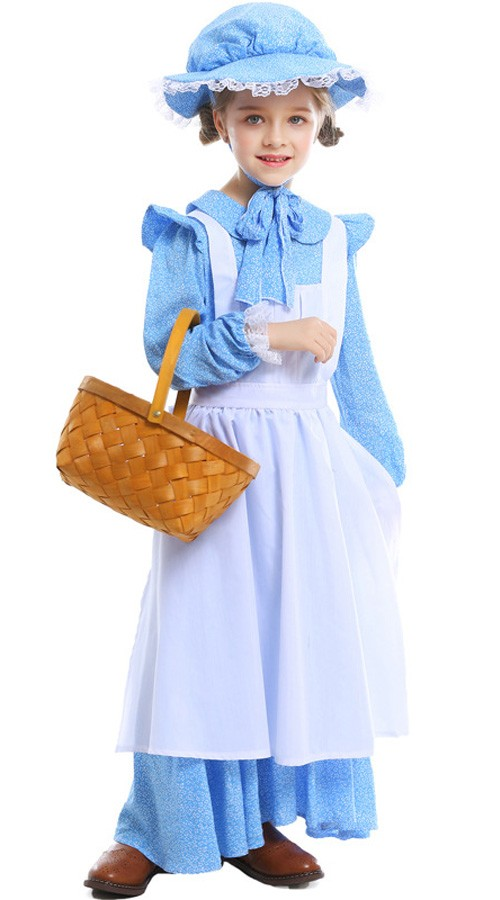 Barn Koloni Bonde Kostyme Borgerkrig Stuepike Kostyme