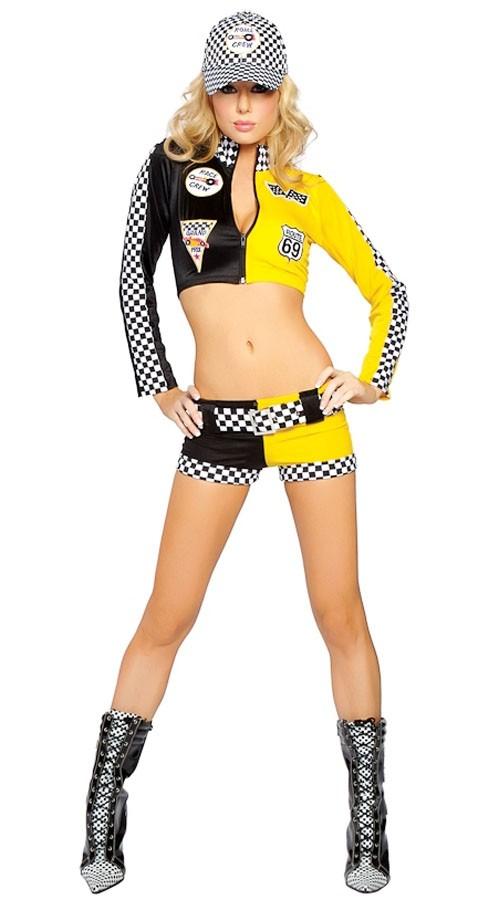 Full Throttle Sexy Racer Cheerleader Kostyme