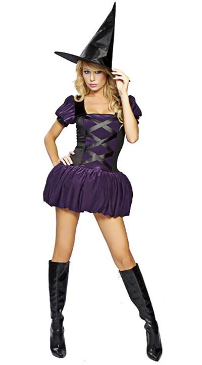 Halloween Kostymer Lilla Heks Kostyme