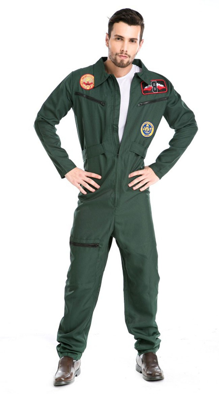 Top Gun Kostyme Mann Pilot Jumpsuit