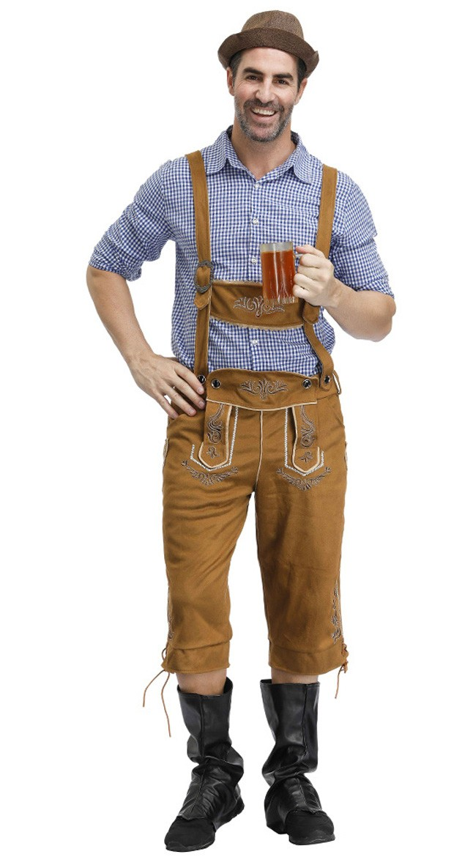 Deluxe Tradisjonell Oktoberfest Lederhosen Kostyme for Herre