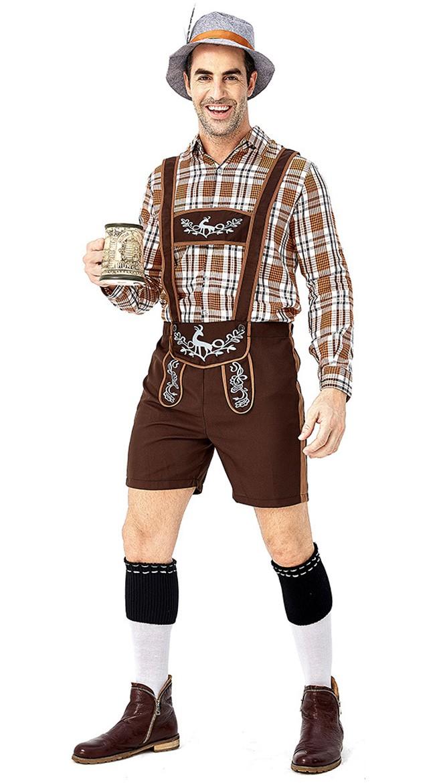 Herre Tradisjonell Oktoberfest Lederhosen Kostyme Trykt Rutete