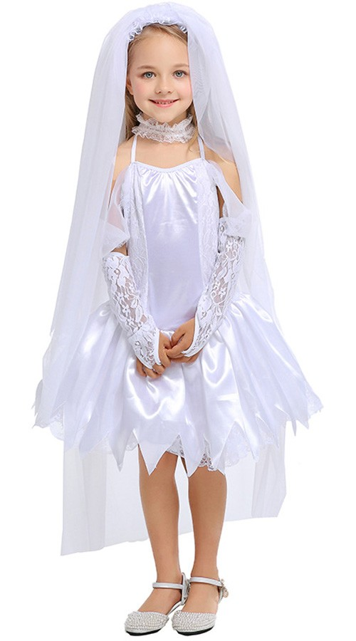 Barn Brudekostyme Jenter Halloween Kostymer