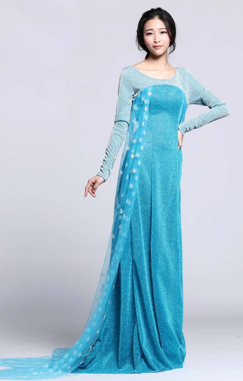 Billig Blå Frozen Elsa Kostyme Voksen