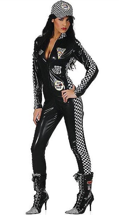 Svart Langermet Catsuit Racer Kostyme
