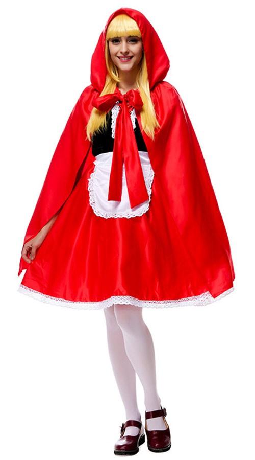 Deluxe Lange Små Rødhette Kostym Voksne