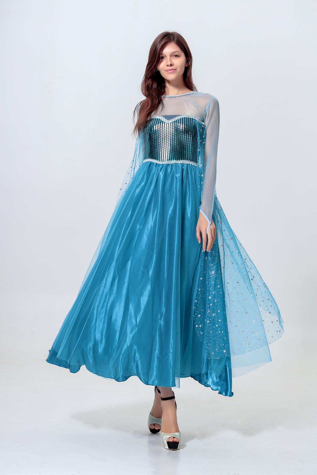 Sequin Frozen Prinsesse Elsa Kjole Voksen
