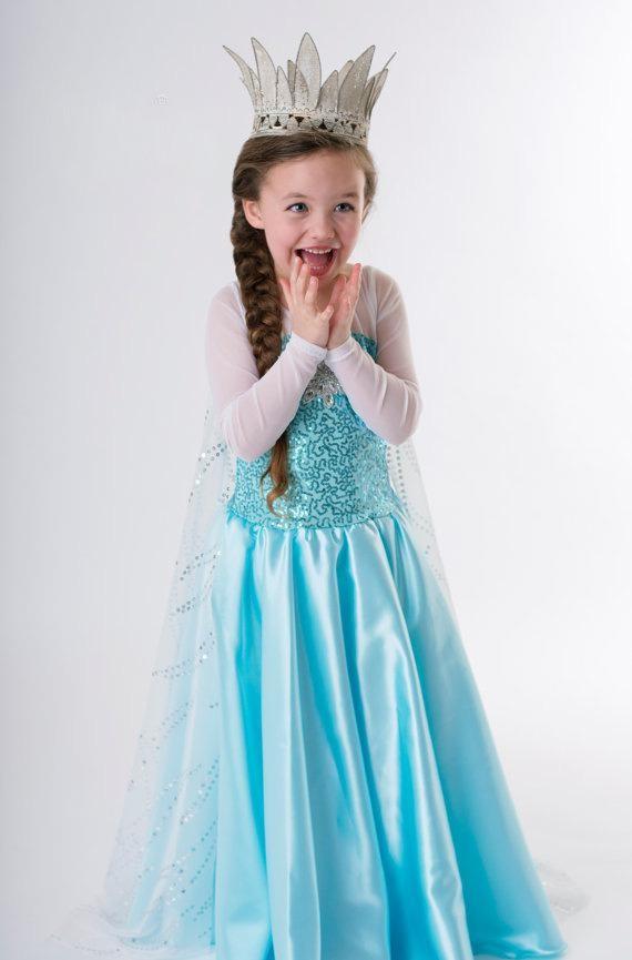 Blå Elsa Frozen Kjole Barn