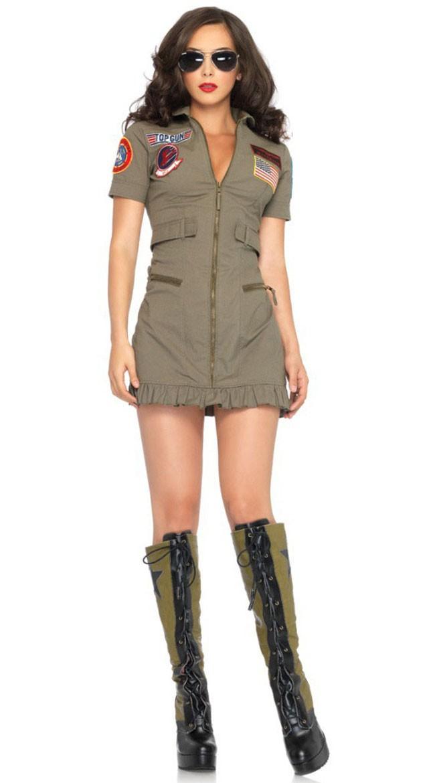 Top Gun Kostyme Dame Pilot Kjole