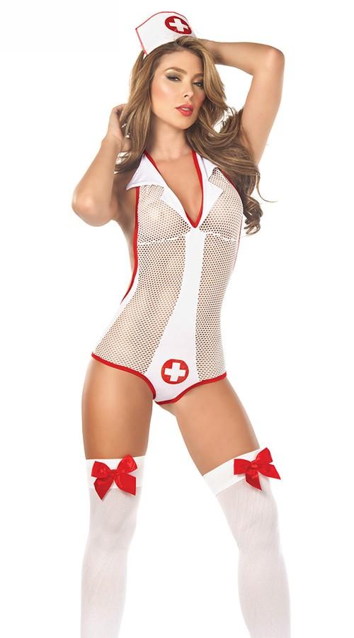 Feisty Fishnet Sykepleier Kostyme