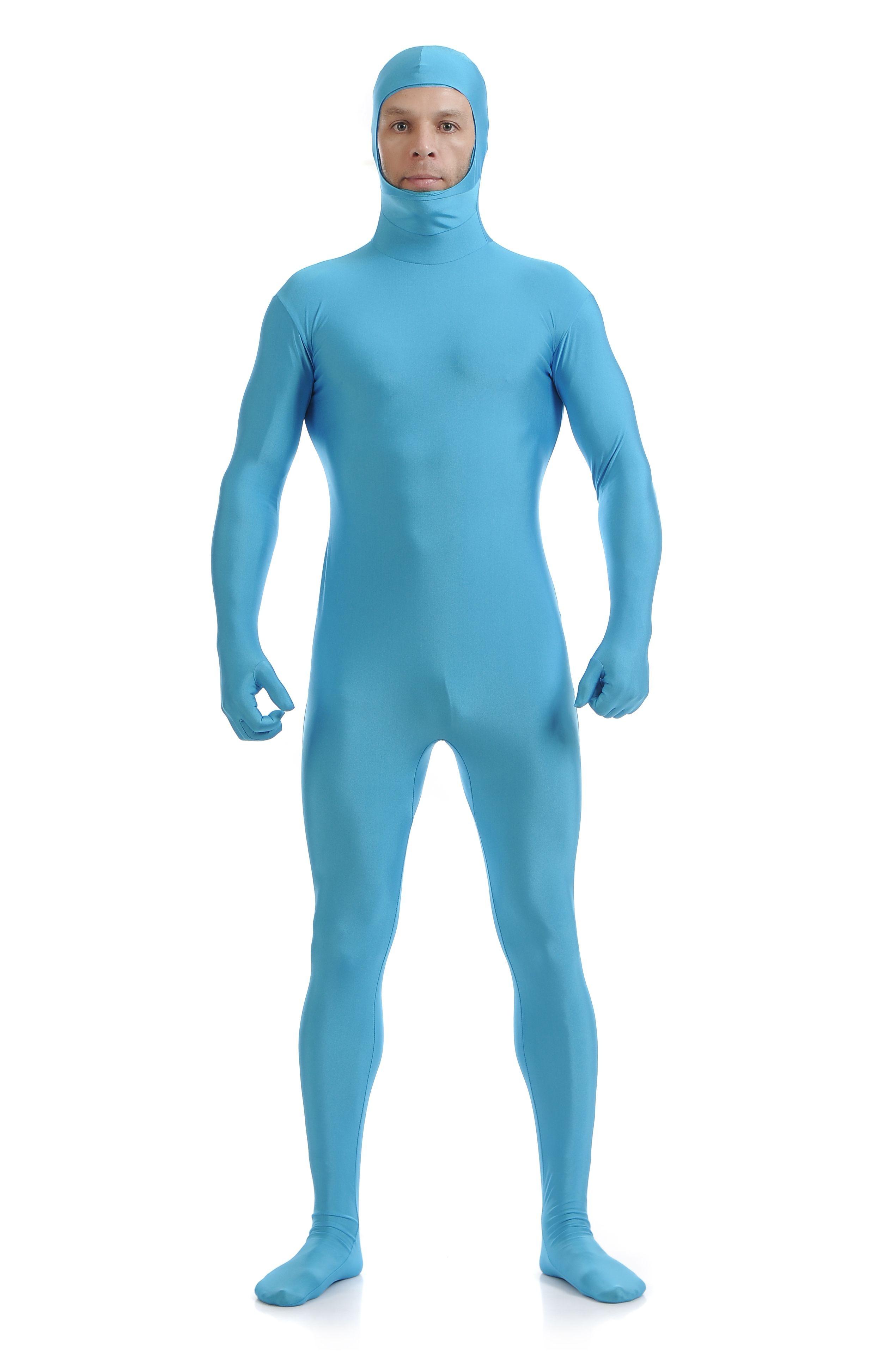 Skinsuits Lycra Spandex Drakt Åpent Ansikt Second Skin Suit Voksen Blå