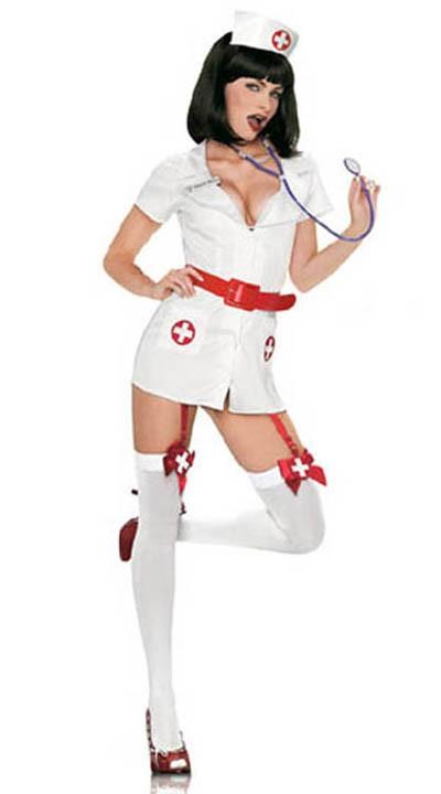 Hvit Sykepleier Kostyme Med Sokkeholdere
