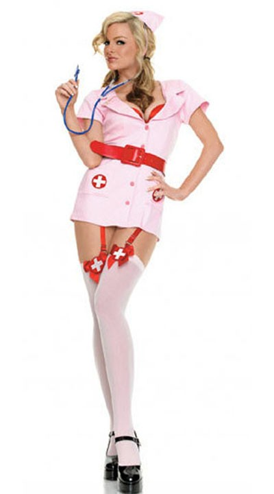 Rosa Sykepleier Kostyme Med Sokkeholdere