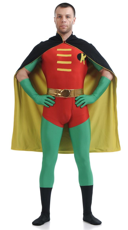 Lycra Spandex Robin Kostyme Rød og Grønn