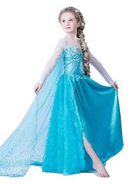 Dronning Elsa Frozen Kjole Barn Sequin Blue