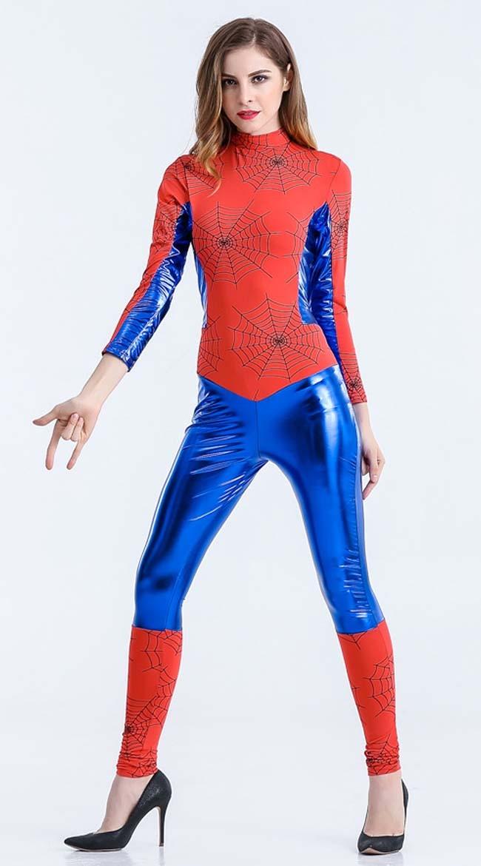 Blå Spidergirl Kostyme Superhelt Kostyme