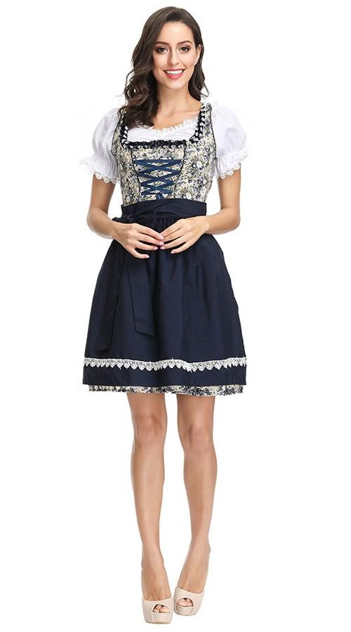 Tysk Oktoberfest Kostyme Floral Minikjole Dame