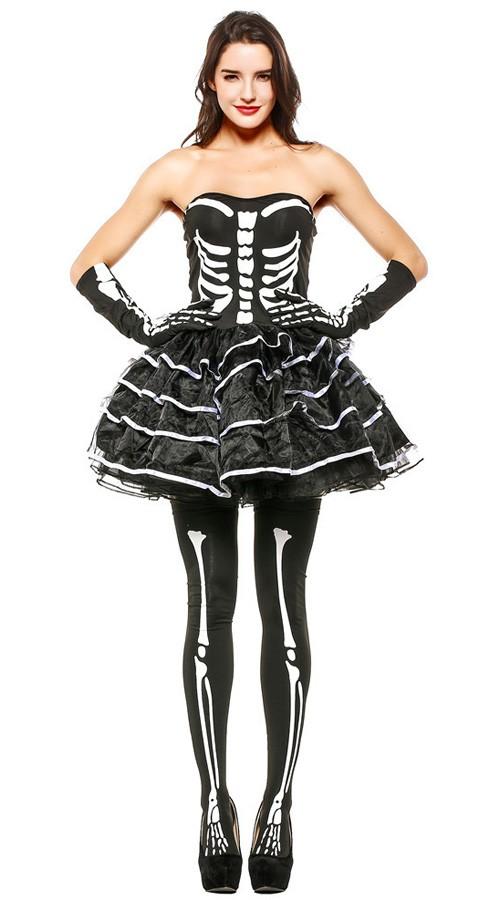 Flørtende Halloween Skjelett Kostyme