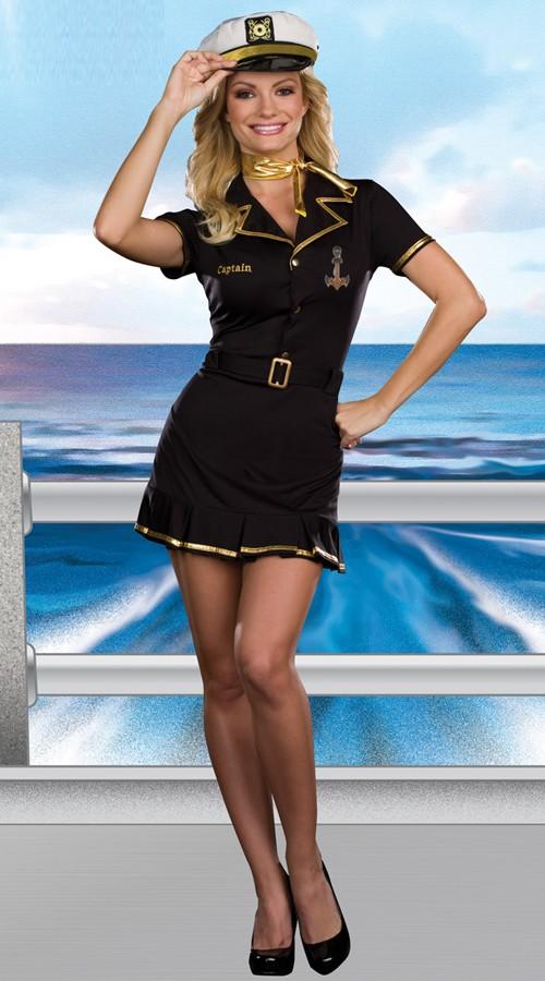 Svart Matros Kaptein Kostyme