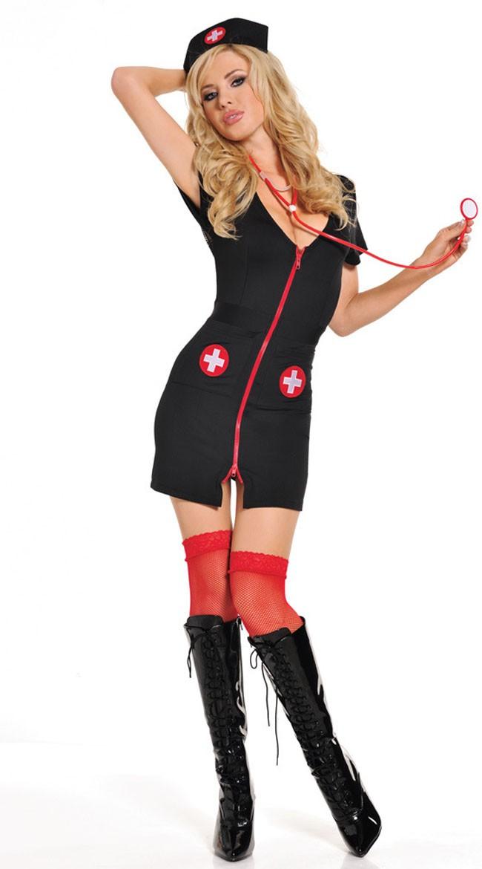 Svart Natt Sexy Sykepleier Kostyme