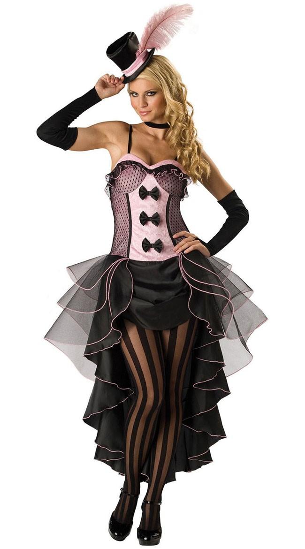 Can Can Kjole Rosa Burlesque Kostyme