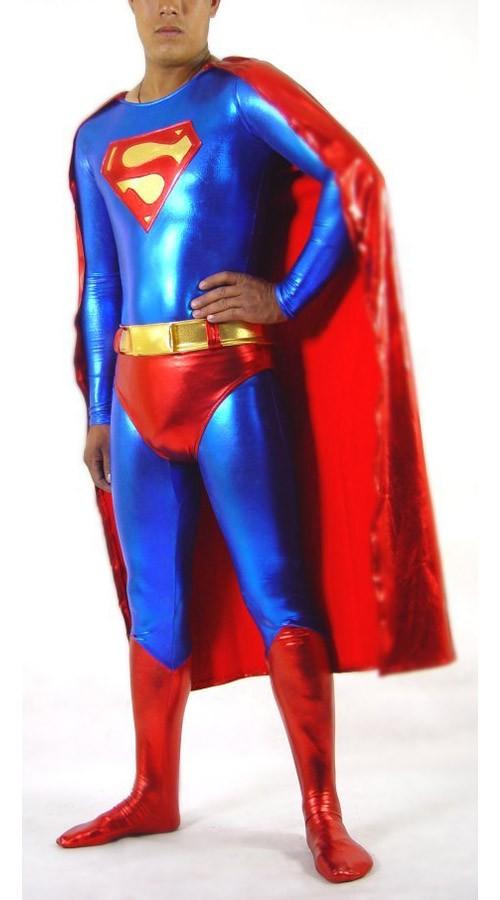 Skinnende Metallisk Superman Kostyme Blå Og Rød