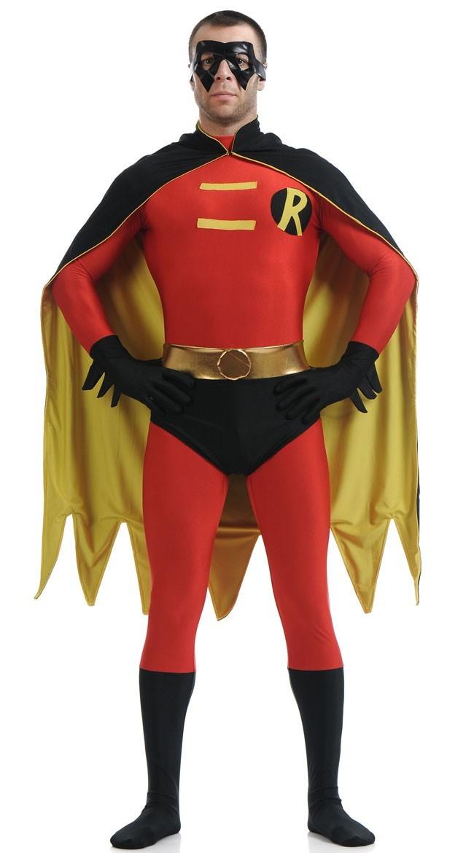 Lycra Spandex Robin Kostyme Rød og Svart