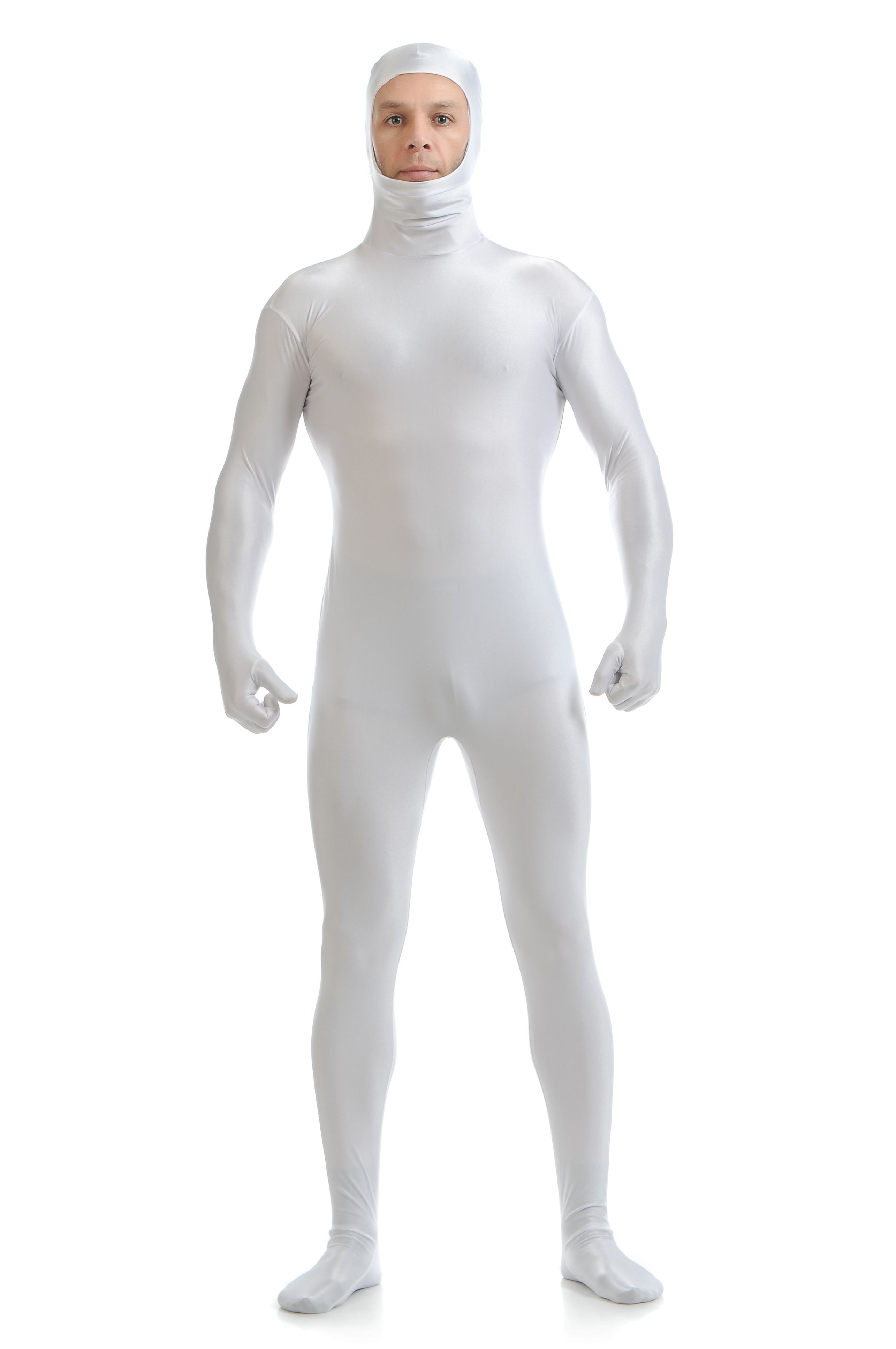 Skinsuits Lycra Spandex Drakt Åpent Ansikt Second Skin Suit Voksen Hvit
