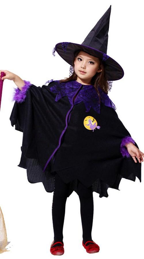 Barn Mørkt Heks Kostyme Halloween Kapper