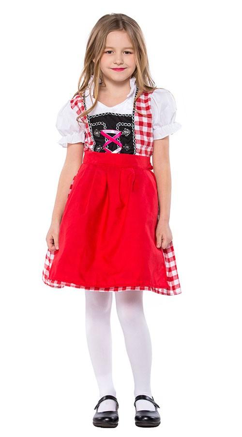 Rød Bayersk Oktoberfest Kostyme For Barn Heidi Kjole