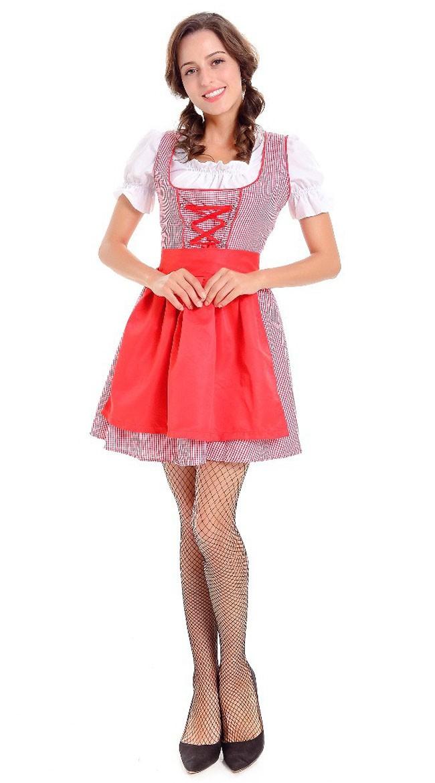 Tjenestepike Oktoberfest Kostyme Tyrolerkjole Rød