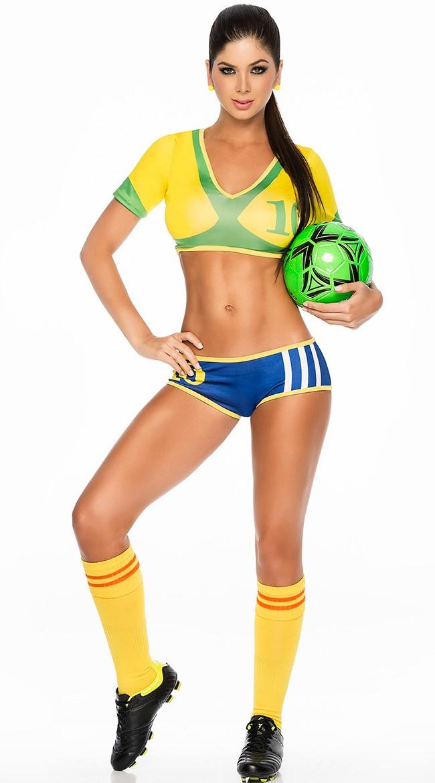 Sexy Brasil Fotballspiller Kostyme Dame